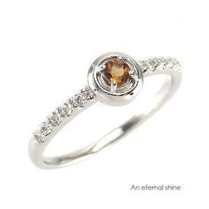 ピンキーリング シトリントパーズ 11月誕生石 ダイヤモンド 指輪 プラチナ900 pt900 指輪 一粒 ピンキーリング レディース アクセサリー|eternally