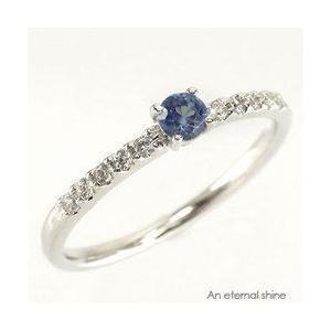 タンザナイト 12月誕生石 ダイヤモンド 指輪 一粒 ピンキーリング k18ゴールド 18金 レディース アクセサリー|eternally