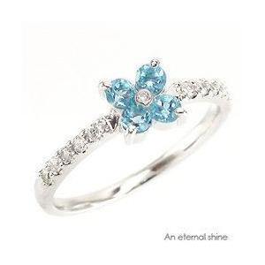 ピンキーリング ブルートパーズ 11月誕生石 フラワー ダイヤモンド プラチナ900 pt900 指輪 一粒 レディース ジュエリー アクセサリー|eternally