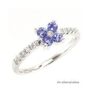 ピンキーリング タンザナイト フラワー ダイヤモンド プラチナ900 pt900 指輪 一粒 レディース ジュエリー アクセサリー|eternally