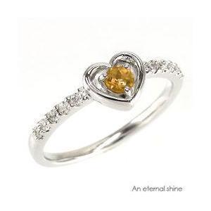 シトリントパーズ 11月誕生石 ダイヤモンド 指輪 ハートプラチナ900 pt900 指輪 一粒 ピンキーリング レディース ジュエリー アクセサリー|eternally
