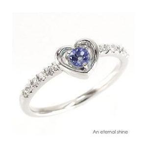 ピンキーリング ハート タンザナイト 12月誕生石 ダイヤモンド 指輪 一粒 k18ゴールド 18金 レディース ジュエリー アクセサリー|eternally