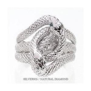 指輪 蛇 へび スネーク ダイヤモンド ブルーダイヤモンド 0.04ct シルバー925 リング レディース ジュエリー アクセサリー|eternally