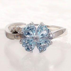 ブルートパーズ ダイヤモンド リング 四つ葉のクローバー 指輪 k18ゴールド 18金 レディース ジュエリー アクセサリー|eternally