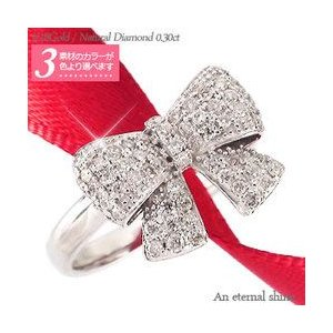 指輪 リボン ダイヤモンド リング 0.3ct パヴェ k18ゴールド 18金 レディース ジュエリー アクセサリー|eternally