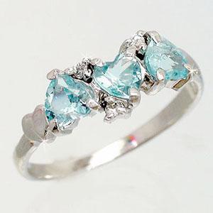 ブルートパーズ ダイヤモンド ハート リング 指輪 k18ホワイトゴールド k18WG 18金 レディース アクセサリー|eternally