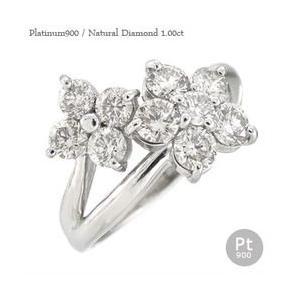 ダイヤモンド リング プラチナ900 pt900 1ct 指輪 テンダイヤモンド フラワー レディース ジュエリー アクセサリー|eternally