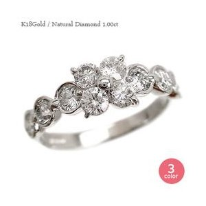 ダイヤモンド リング k18ゴールド 18金 テンダイヤモンド 1ct 指輪 フラワー レディース ジュエリー アクセサリー|eternally