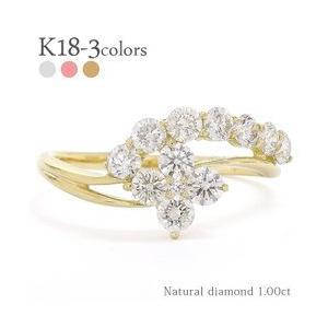 ダイヤモンド リング 指輪 ダイヤ 1ct フラワー 花 k18ゴールド 18金ゴールド レディース ジュエリー アクセサリー|eternally