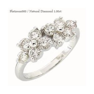 ダイヤモンド リング プラチナ900 pt900 ダイヤ 1ct 指輪 テンダイヤモンド フラワー レディース アクセサリー|eternally