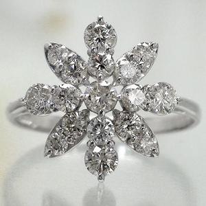 ダイヤモンド リング 1ct 指輪 プラチナ900 pt900 フラワー レディース ジュエリー アクセサリー|eternally