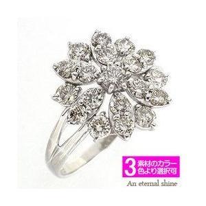 ダイヤモンド リング フラワー ダイヤモンド1ct フラワー リング 花 指輪 k18ゴールド 18金 レディース アクセサリー|eternally