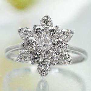 ダイヤモンド 1ct 指輪 フラワー ダイヤモンド リング k18ゴールド 18金 レディース ジュエリー アクセサリー|eternally