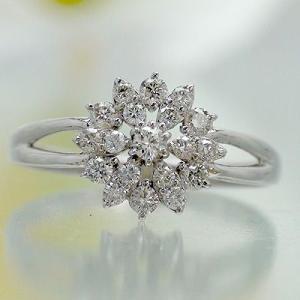 ダイヤモンド リング 0.3ct リング 指輪 プラチナ900 pt900 フラワー レディース ジュエリー アクセサリー|eternally