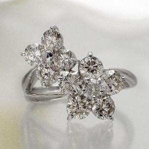 ダイヤモンド リング プラチナ900 pt900 2ct フラワー 指輪 テンダイヤモンド レディース アクセサリー|eternally