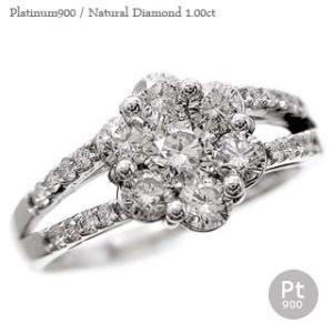 ダイヤモンド 1ct 指輪 プラチナ900 pt900 ダイヤモンド リング フラワー レディース ジュエリー アクセサリー|eternally