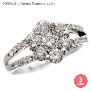 18金 ダイヤモンド 1ct 指輪 ダイヤモンド リング フラワーモチーフ k18ゴールド レディース ジュエリー アクセサリー|eternally