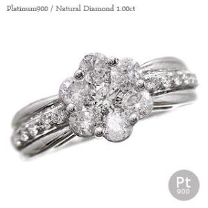 ダイヤモンド リング ダイヤモンド1ct 指輪 プラチナ900 pt900 フラワー リング レディース ジュエリー アクセサリー|eternally