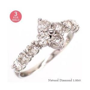 ダイヤモンド リング k18ゴールド 1ct 指輪 テンダイヤモンド フラワー 18金 レディース ジュエリー アクセサリー|eternally