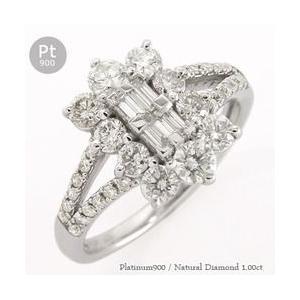 ダイヤモンド リング 1ct プラチナ900 pt900 バケット 指輪 レディース ジュエリー アクセサリー|eternally