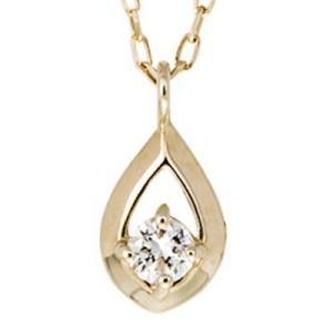 ダイヤモンド 一粒 ペアシェイプ ツユ ネックレス k10ゴールド 10k 10金 イエローゴールド レディース ジュエリー アクセサリー プレゼント ギフト|eternally