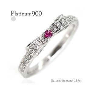 指輪 リボンリング カラーストーン ダイヤモンド 0.15ct プラチナ900 pt900 誕生石 ピンキーリング ミル打ち レディース|eternally