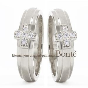 結婚指輪 ペアリング 2本セット プラチナ900 pt900 マリッジリング ダイヤモンド クロス 十字架 男女兼用 レディース|eternally
