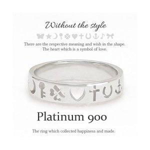 プラチナ900 pt900 リング 指輪 ちょうちょ 星 月 鍵 キー クローバー ハート 十字架 クロス 馬蹄 イカリ 音符 リボン レディース|eternally