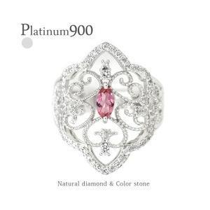 pt900 ダイヤモンド リング 0.35ct プラチナ900 アラベスク アンティーク 幅広 誕生石 指輪 レディース アクセサリー|eternally