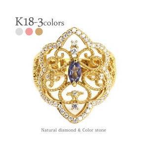 k18ゴールド ダイヤモンド リング 0.35ct カラーストーン アラベスク アンティーク 幅広 誕生石 指輪 レディース|eternally