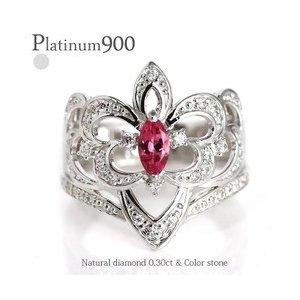 pt900 ダイヤモンド リング 0.3ct プラチナ900 アラベスク アンティーク 幅広 誕生石 指輪 レディース アクセサリー|eternally
