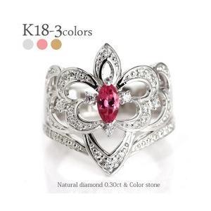 k18ゴールド ダイヤモンド リング 0.3ct カラーストーン アラベスク アンティーク 幅広 誕生石 指輪 レディース|eternally