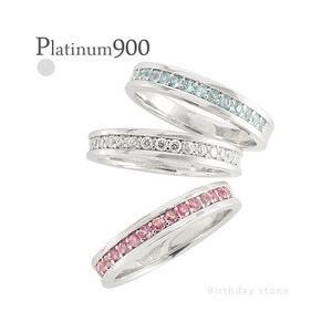 pt900カラーストーンリング ハーフエタニティリング 誕生石 指輪 レディース ジュエリー アクセサリー|eternally