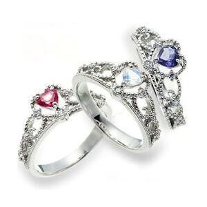 プラチナ900 pt900 誕生石 ダイヤモンドリング 0.08ct ハート ティアラ 冠 小指 ピンキーリング 指輪 レディース ジュエリー クリスマス プレゼント ギフト|eternally