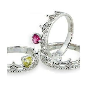 プラチナ900 pt900 誕生石 ダイヤモンドリング 0.04ct ハート ティアラ 冠 小指 ピンキーリング 指輪 レディース ジュエリー クリスマス プレゼント ギフト|eternally
