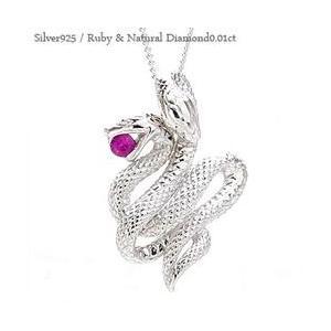 シルバー925 蛇 へび ネックレス ペンダント スネーク ダイヤモンド 0.01ct 巳 レディース ジュエリー アクセサリー|eternally