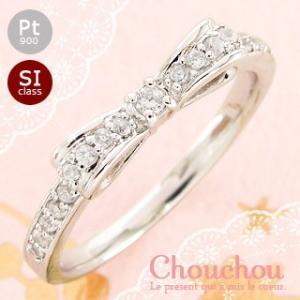 リボン 指輪 プラチナ900 pt900 ダイヤモンド 0.2ct リング ピンキーリング ミディリング ファランジリング レディース|eternally
