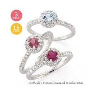 指輪 取り巻き ピンキーリング ダイヤモンド&カラーストーン リング 0.22ct k18ゴールド ハート 18金 レディース|eternally