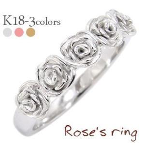 指輪 ローズリング k18ゴールド 18金 花 フラワー リング バラ ばら ROSE レディース ジュエリー アクセサリー|eternally