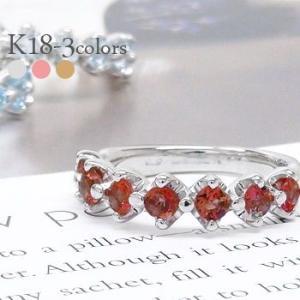 ハーフエタニティリング 指輪 18金 カラーストーン リング k18ゴールド 誕生石 3.0mm レディース アクセサリー|eternally
