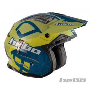 HC1026 ZONE4 PATRICK ブルー/イエロー HEBO エボ トライアルヘルメット MFJ公認|ethosdesign
