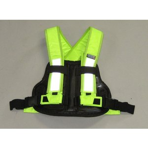 TRP001 TRY1 セイフティプロテクトVベスト ビジビリティベスト 蛍光 チェストプロテクター 胸部パッド 装着簡単 バイク便、新聞配達、宅配業者様にもおすすめ|ethosdesign