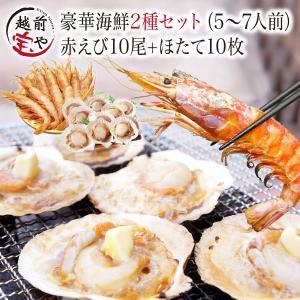 海鮮バーベキューセット BBQ 詰め合わせ 2種 生 赤えび 10尾 ほたて 10枚 セット (5〜7人前) お取り寄せ 海鮮鍋*冷凍* セルフ父の日