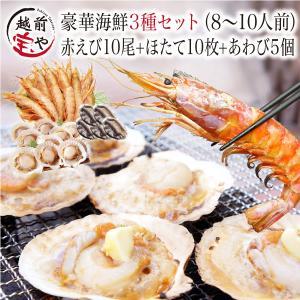 海鮮バーベキュー 海鮮セット 3種 生 赤えび 10尾 ほたて 10枚 あわび 5枚 セット (8〜...