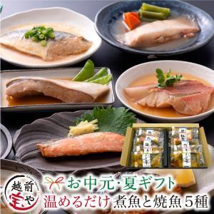 煮魚 焼魚 5種10切セット ギフト 焼き魚 電子レンジ 1分 湯せん 調理 詰め合わせ 送料無料 紅鮭 銀鮭 赤がれい ぶり さば味噌 ((冷凍))  レンジ 魚 惣菜|etizentakaraya