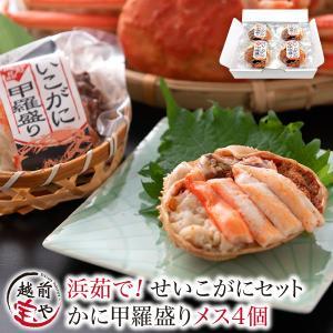 ギフト 海鮮  セイコガニ  香箱ガニ 甲羅盛り 4個セット かに ((冷凍))|etizentakaraya
