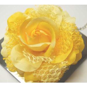 手作り髪飾り コサージュ黄色バラ716ケース入り 大量処分します 浴衣・振袖・着物に |etizenya