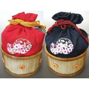 浴衣巾着 hiromichi nakano/ナカノヒロミチ 赤 /紺 ゆかたバック カゴ・籠|etizenya
