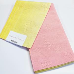 本麻ゆかた帯 seiko matsuda yukata 松田聖子 黄色/ピンク 両面帯 小袋帯 浴衣帯|etizenya