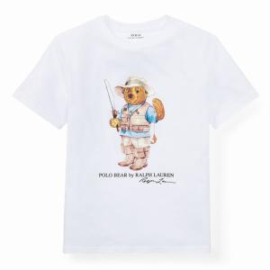 ラルフローレン ポロベア Tシャツ ボーイズ POLO RALPH LAUREN BOYS fishing bear cotton t-shirt WH (BOYS XL)|etny